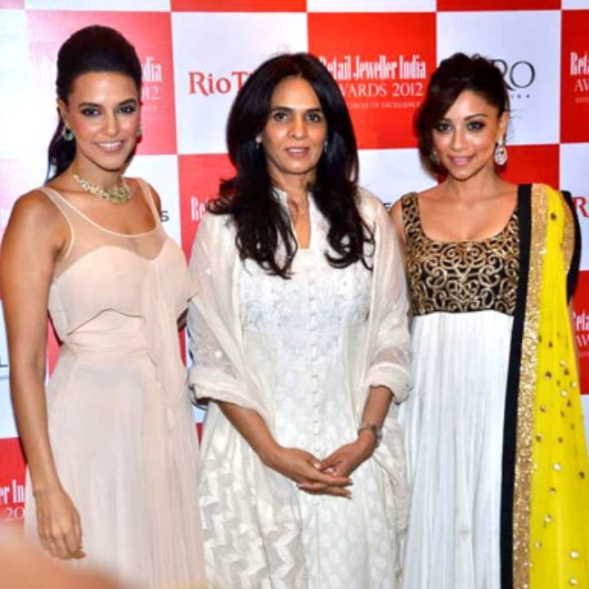 Neha Dhupia, Anita Dongre, Amrita Puri at '8th Annual Gemfields RioTinto Retail Jeweller India Awards 2012' meet