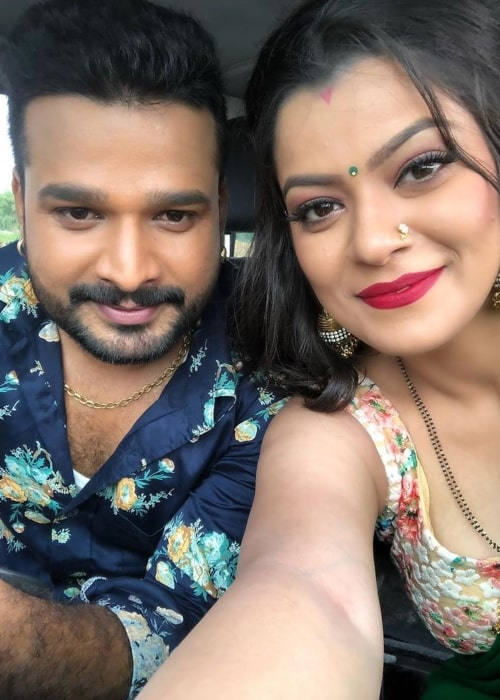 Nidhi Jha as seen in a selfie that was taken with actor, model, and playback singer Ritesh Pandey in the past