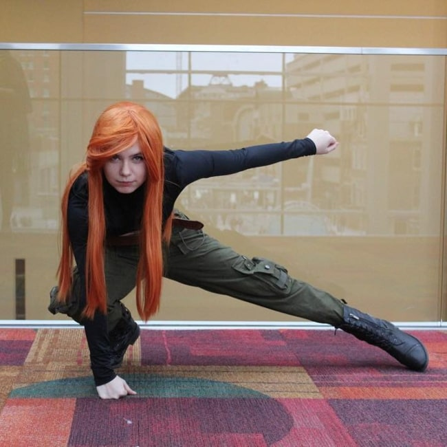 Nyannyancosplay as seen in a picture taken while she was dressed as Disney's Kim Possible at the Indiana Comic Con 2018