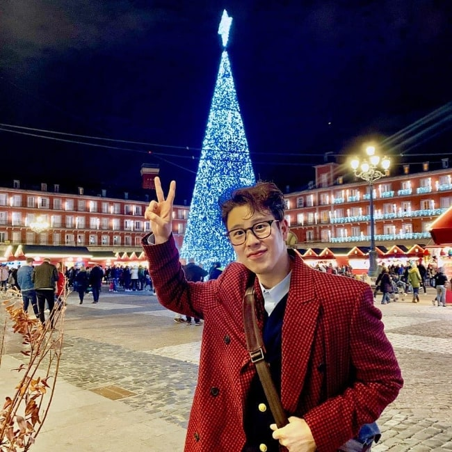 P.O (a.k.a. Pyo Ji-hoon) as seen while posing for a picture in Spain in December 2019