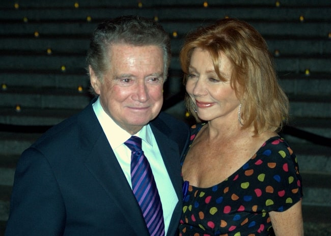 Regis Philbin as seen while posing for the camera alongside his wife Joy Philbin at the 2009 Tribeca Film Festival celebration hosted by Vanity Fair