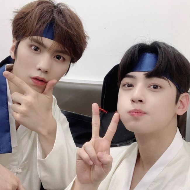 Rocky (left) and Cha Eun-woo seen together in July 2019