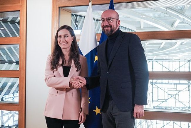 Sanna Marin seen together with the President of the European Council Charles Michel in 2020