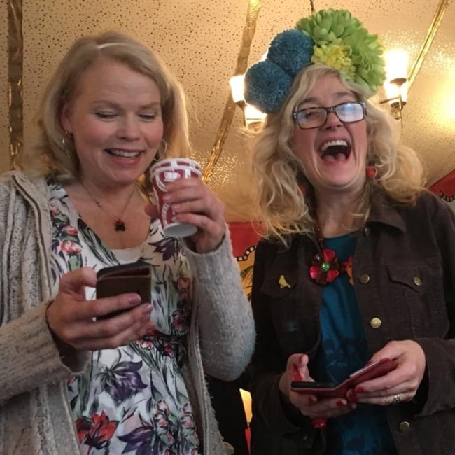 Sara Crowe as seen in a picture taken with fellow actress Sophie Thompson in December 2018