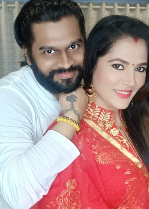 Seema Singh as seen in a picture taken with her husband Saurav Kumar in July 2020