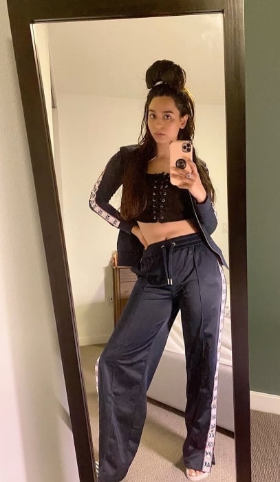 Soundarya Sharma as seen while clicking a mirror selfie in Beverly Hills, California in July 2020