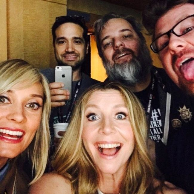 Spencer Grammer seen together with Sarah Chalke and other cast members of Rick and Morty