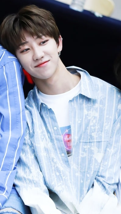 The8 as seen while smiling at the Gwanghwamun fan signing in June 2017
