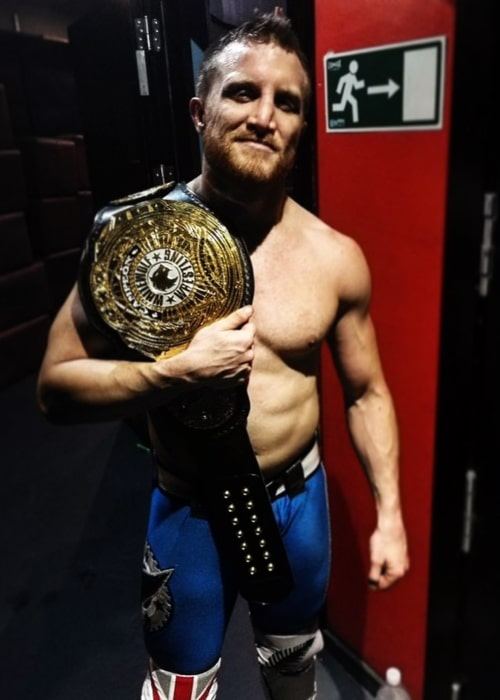 Travis Banks after winning the White Wolf Wrestling Triple W Undisputed Championship in June 2019