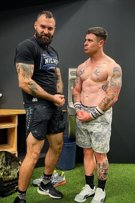 Zac Spencer (Right) posing for a picture alongside Ray Hodgkinson in July 2020