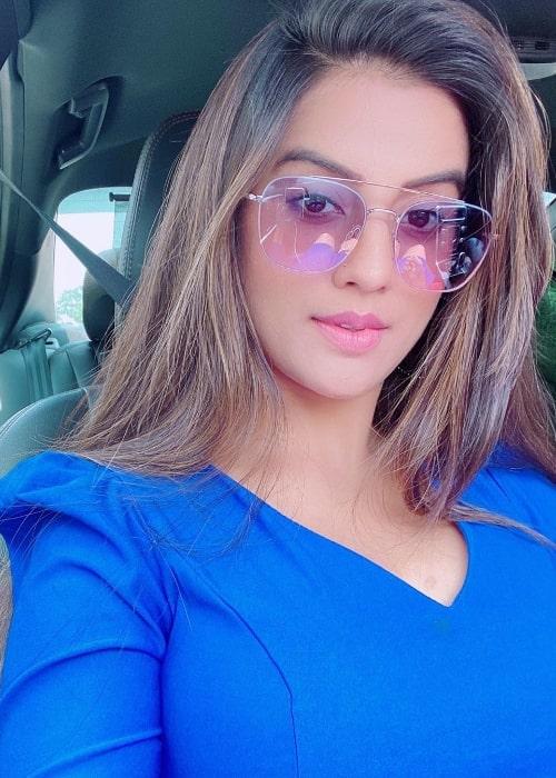 Akshara Singh as seen while clicking a car selfie in July 2020