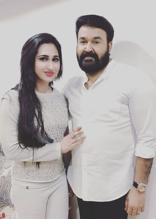 Anjali Ameer as seen while posing for a picture in Mohanlal