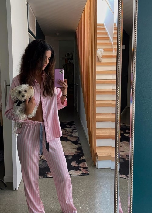 CJ Franco as seen in a selfie taken with her dog in May 2020