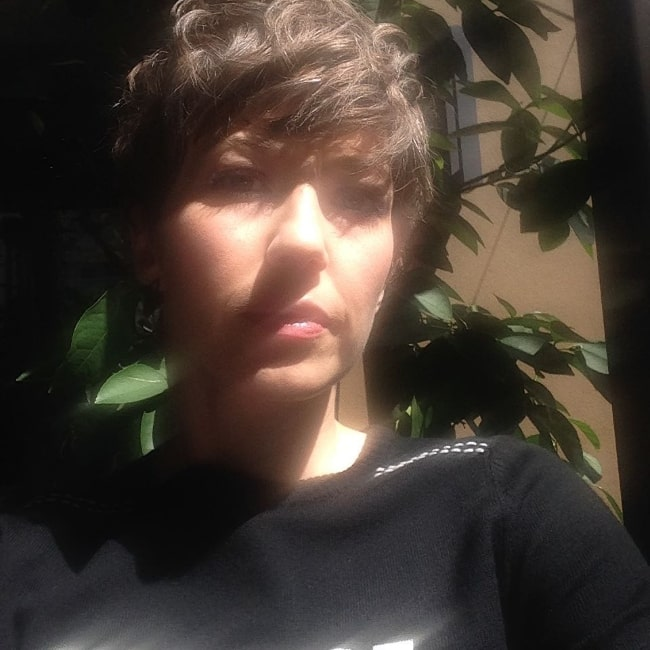 Carrie Coon as seen while taking a selfie in Los Angeles, California in April 2017