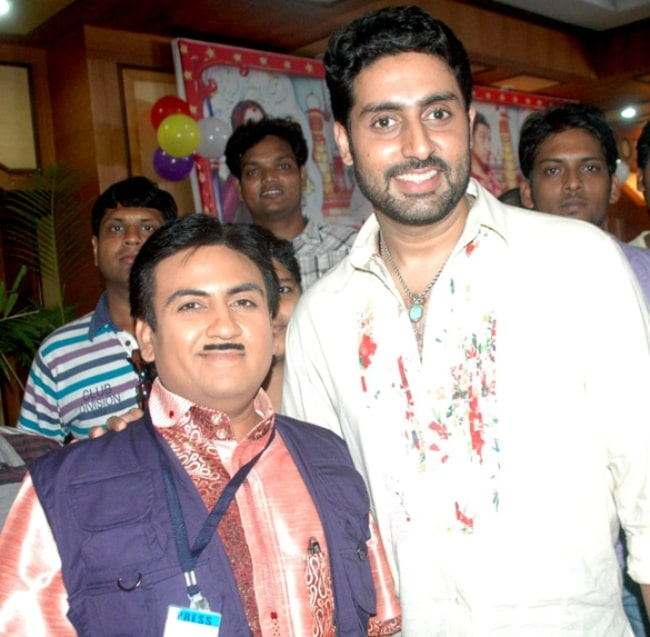 Dilip Joshi (Left) as seen while posing for a picture alongside Abhishek Bachchan on the sets of Taarak Mehta Ka Ooltah Chashmah in July 2012