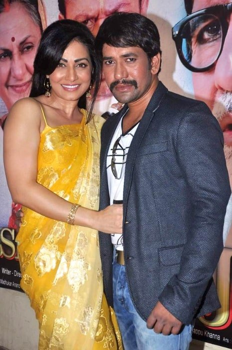 Dinesh Lal Yadav as seen while posing for the camera alongside Pakhi Hegde at Smt Netaji film launch in May 2012