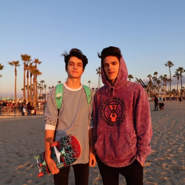 Dom Brack (Left) as seen while posing for a picture alongside Brent Rivera at Venice Beach, Los Angeles in January 2020