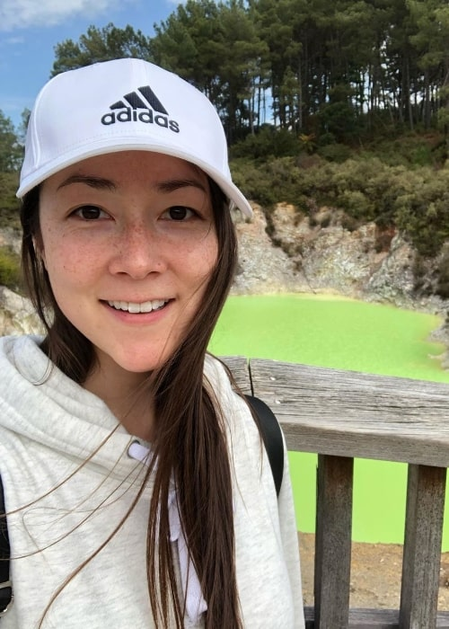 Emily Piggford as seen while taking a selfie at Wai-O-Tapu Thermal Wonderland in October 2019
