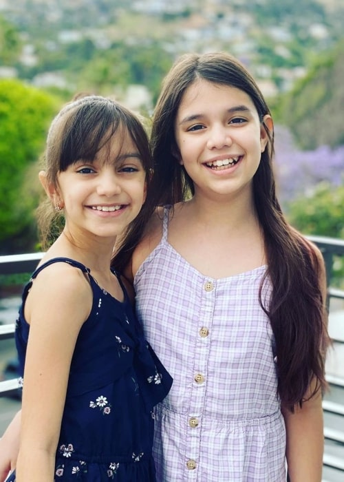 Evelyn TwoSistersToyStyle as seen in a picture that was taken with her sister Emily in June 2020, in Los Angeles, California