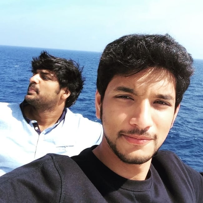 Gautham Karthik as seen in a selfie that was taken with actor Sathish in Singapore in December 2018