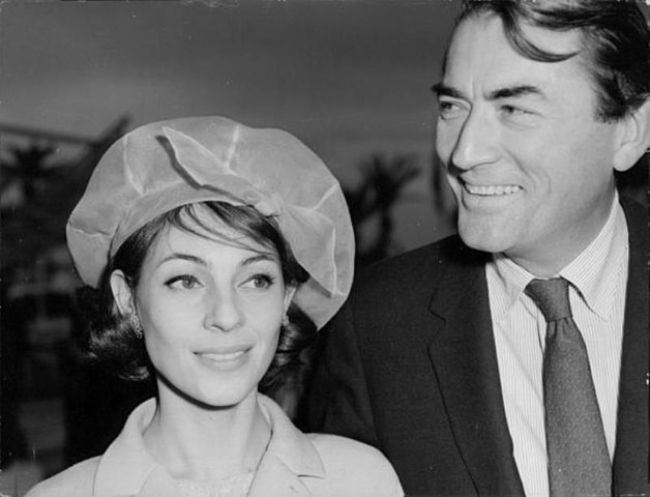 Gregory Peck and wife Veronique as seen together in the 1950s