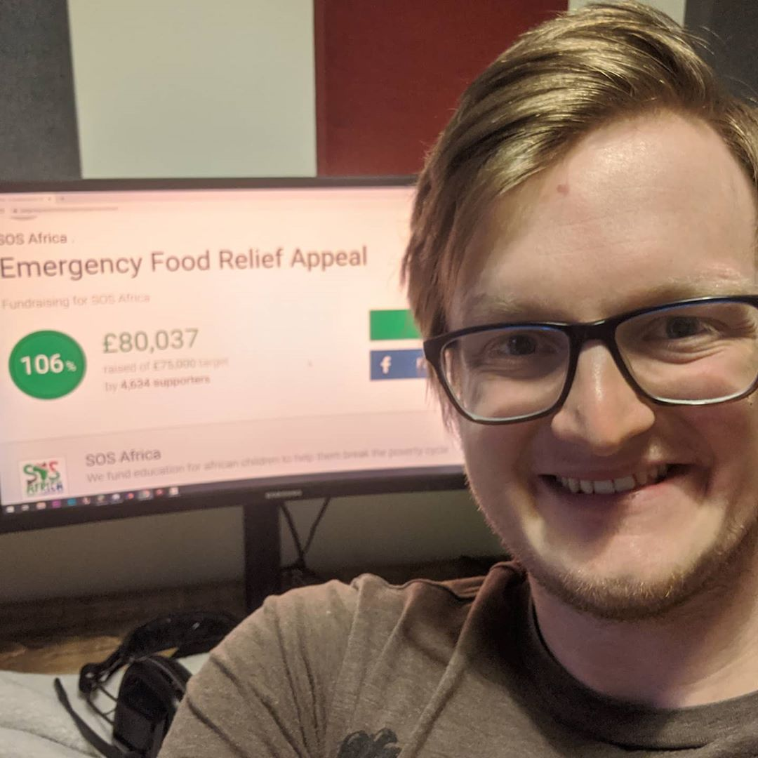 Grian as seen in a selfie taken while thanking his fans for helping him raise charity money for SOSAfrica's Emergency Food Relief Appeal mission in May 2020