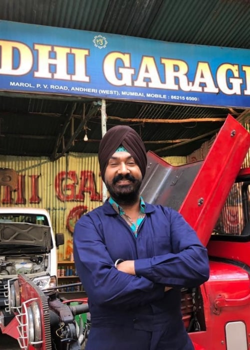 Gurucharan Singh as seen in a picture that was taken in front of his garage in Andheri, Mumbai in May 2020