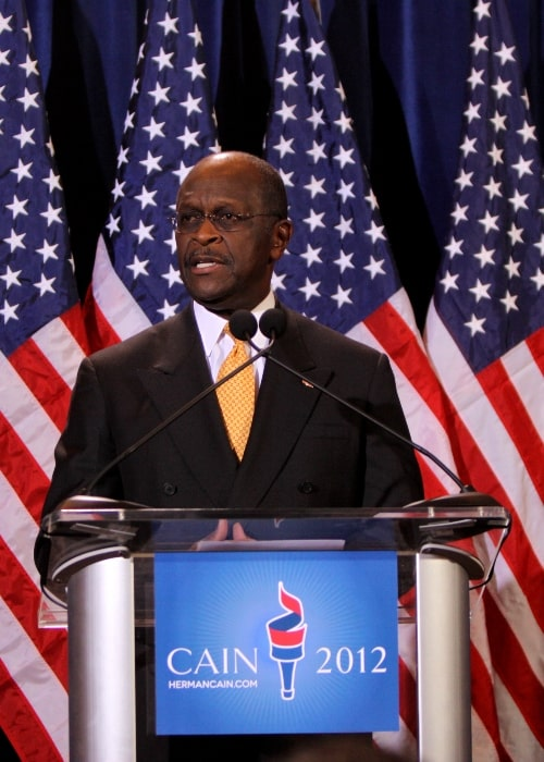 Herman Cain as seen while speaking at a press conference in Scottsdale, Arizona on November 8, 2011