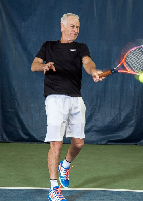 John McEnroe at a coaching clinic at his tennis academy, in January 2019