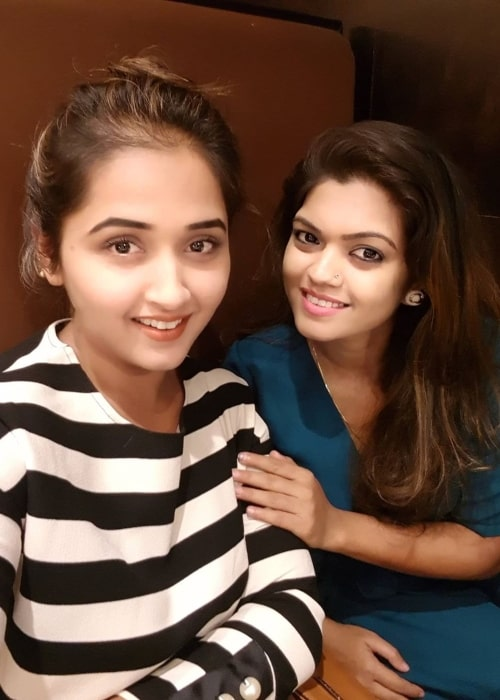 Kajal Raghwani as seen in a selfie that was taken with her friend actress, singer, and performer Nisha Dubey in the past