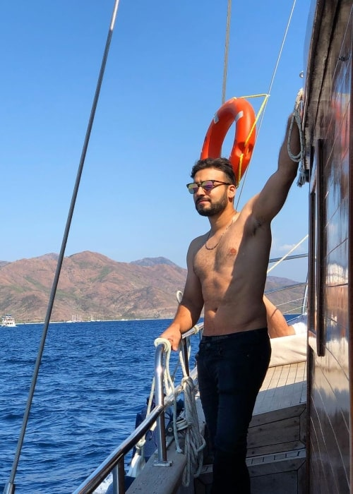 Karim Jovian as seen in a shirtless picture that was taken while on a boat in Datça, Mugla in September 2019