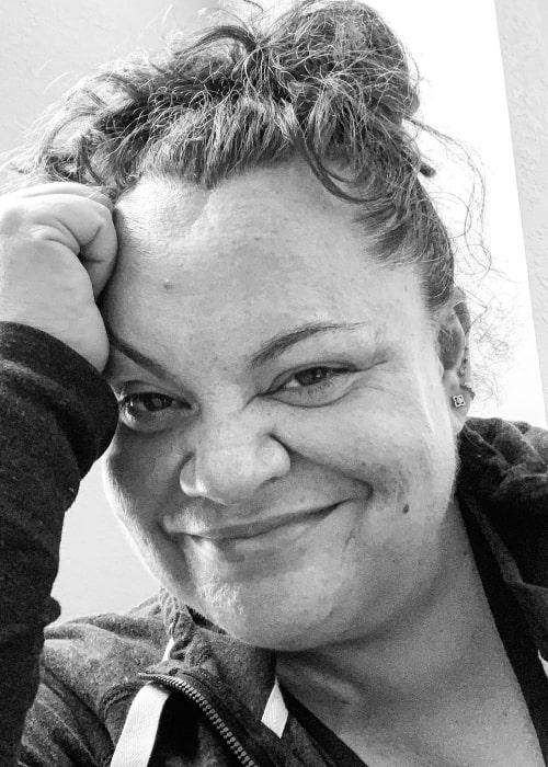 Keala Settle smiling in a black-and-white selfie in July 2020