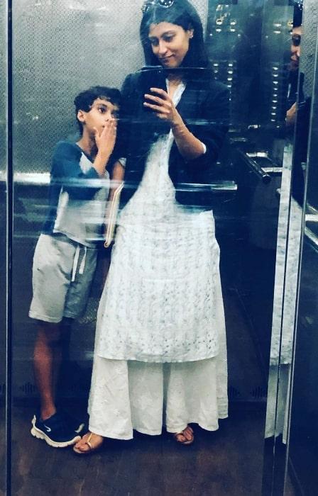Konkona Sen Sharma as seen while clicking an elevator selfie alongside her son in September 2019