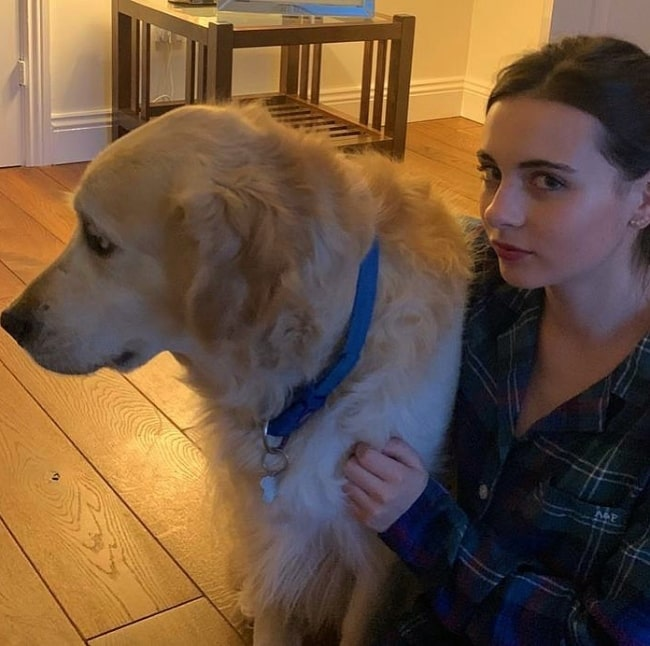 Lara McDonnell in a picture with her dog in May 2020
