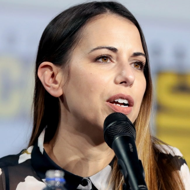 Laura Bailey pictured while speaking at the 2019 San Diego Comic Con International, for 'Marvel Games', at the San Diego Convention Center in San Diego, California