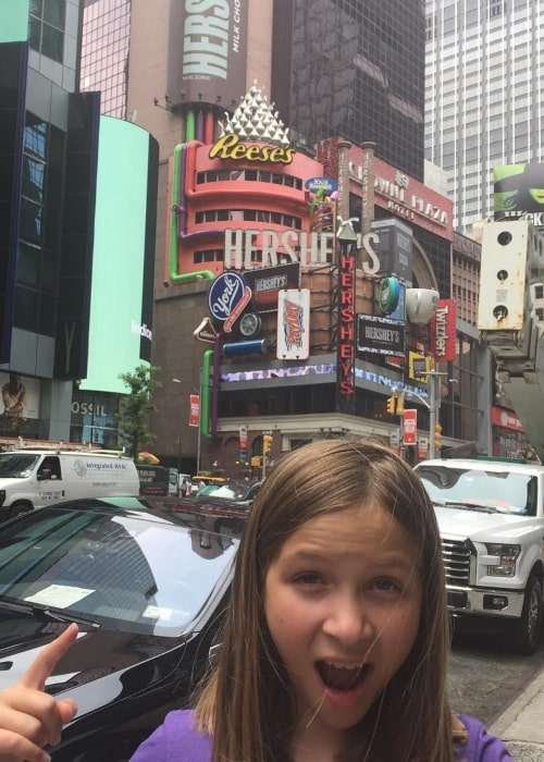 Macey Greer as seen in a picture taken in front of a Hershey's store in July 2017