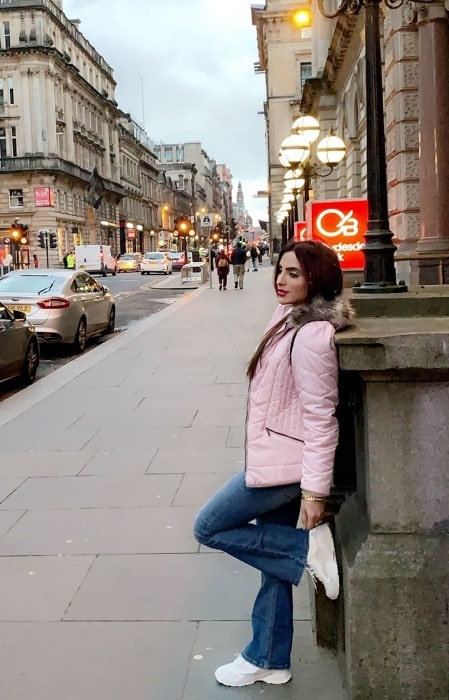 Mansi Sharma as seen while posing for a picture while on her honeymoon in London, England