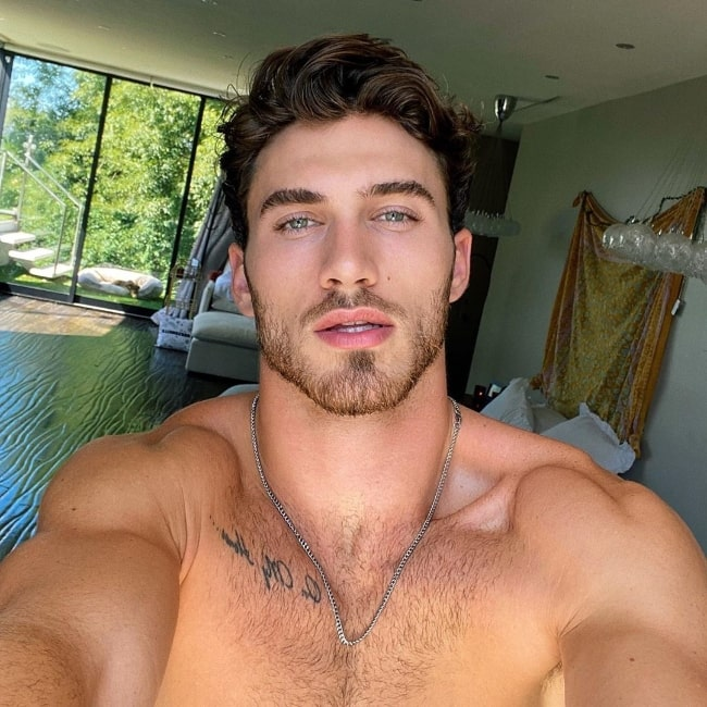 Michael Yerger as seen while taking a shirtless selfie in Los Angeles, California in July 2020