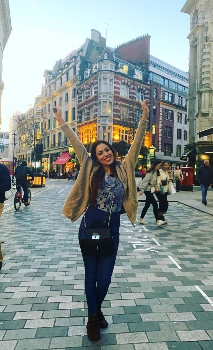 Munmun Dutta as seen while posing for the camera at Leicester Square in London, England