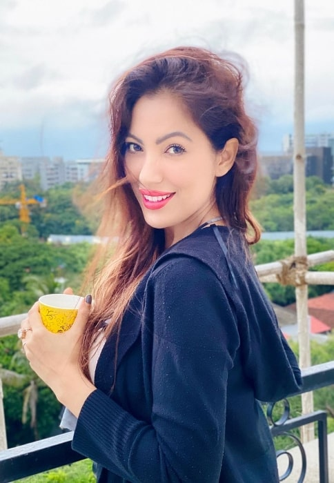 Munmun Dutta as seen while smiling for a picture in Pune, Maharashtra in August 2020