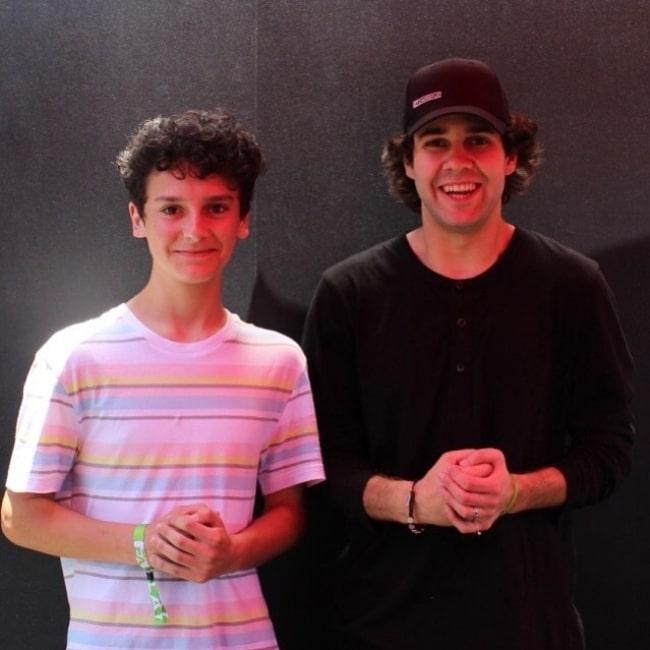 Nicolas Cantu (Left) as seen while posing for the camera alongside David Dobrik at Hollywood Palladium in June 2019