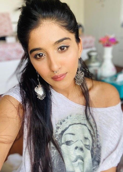 Nimrit Kaur Ahluwalia as seen while clicking a selfie in April 2020