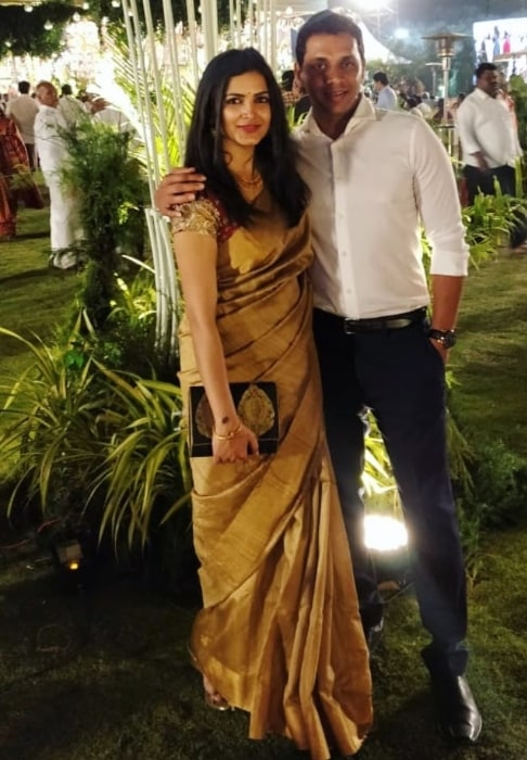 Pavani Gangireddy with her husband in January 2020