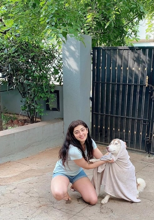 Pranitha Subhash with her dog just after his shower in May 2020