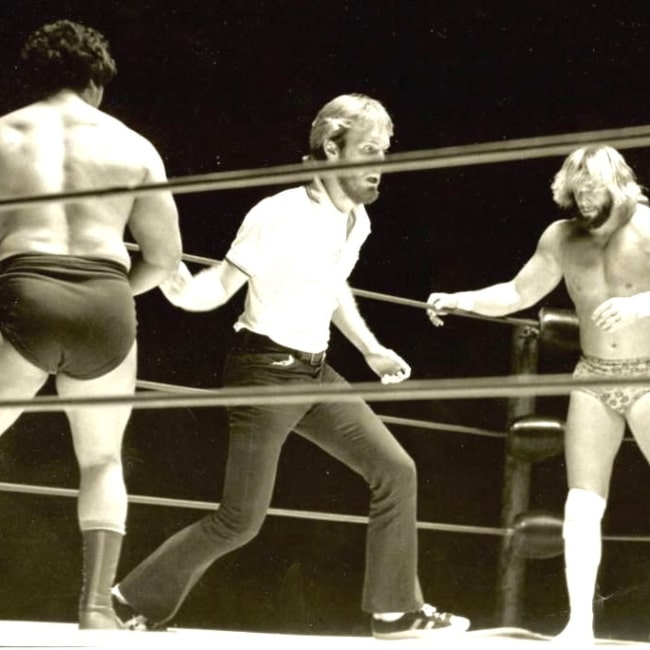 Randy Savage (Right) facing of aginst former wrestler Roberto Soto in a match that was held in Macon, GA