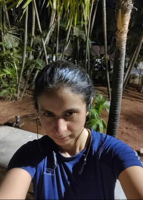 Rasika Dugal as seen while clicking a selfie in March 2020