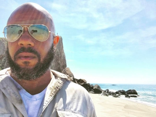 Rockmond Dunbar as seen while taking a selfie on the set of 'Scorpion' in April 2017