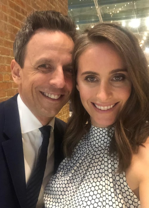 Seth Meyers and Alexi Ashe, as seen in April 2019