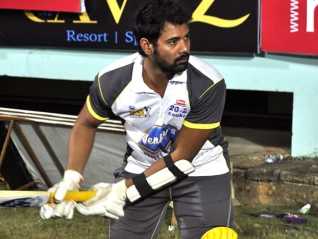 Shabir Ahluwalia pictured while batting in a Celebrity Cricket League match in India in 2011