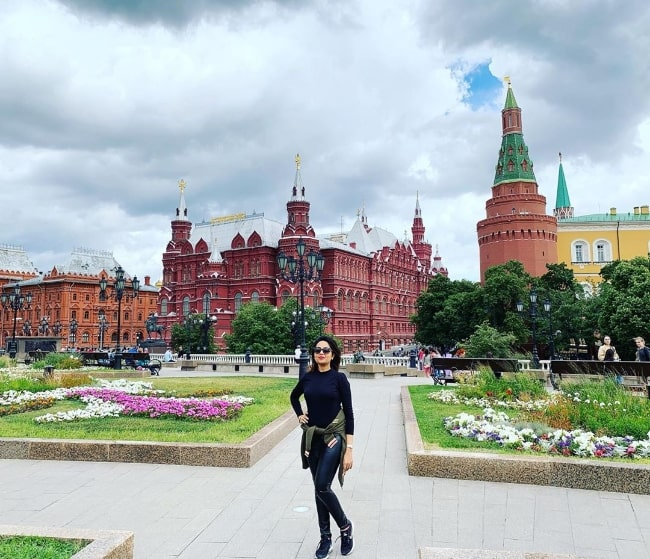 Sugandha Mishra as seen while posing for a picture with a beautiful backdrop in Moscow, Russia
